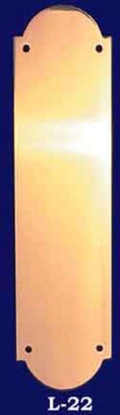 Vintage-Style-Arched-Plain-Brass-Pushplate-(L-22) #vintage #reproduction #recreation #antique #art #deco #nouveau #doorknob #hardware #lighting #unique #switchplate #victorian
