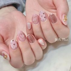 Pretty Gel Nails, Pretty Nail Art, Cute Nail Art, Cute Nails, Colorful Nail Designs, Cute Nail Designs, Hair And Nails, My Nails, Asian Nails