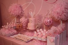Candy bar for a little girl's 1st birthday party, themed 'Fur, Frills & Frou Frou.'