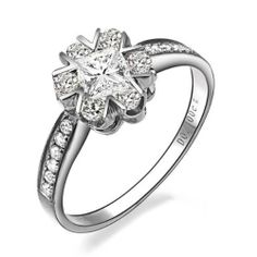1.00 CaratPrincess Cut DiamondMultistone Ring on 10K White Gold FineTresor. $2059.18. Diamond Clarity: I1-I2. Diamond Color: I-J. Center Diamond Cut: Princess. Center Dimond Carat Weight: 0.33. Metal: 10 K White Gold