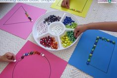 This basic shapes activity provides children with the opportunity to explore and create with shapes. The activity involves placing coloured gems along the lines of the square, rectangle, circle and triangle. It encourages shape recognition and learning about their... #mathscentres #basicshapes