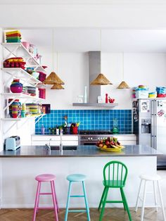 Bright + colorful kitchen