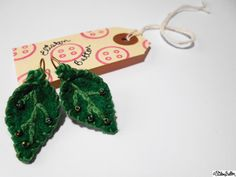 Green Hand Embroidered and Beaded Felt Leaf Shaped Lever Back Drop Earrings by ElistonButton on Etsy