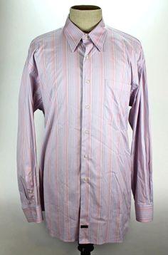 Robert Talbott Dress Shirt size XL 100% Cotton Made in Poland Pink Striped EUC #RobertTalbott