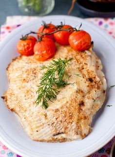 thefoodhabit:    Dinner: Baked Fish + Lightly Roasted Tomatoes  Recipe @ Cooking Melangery