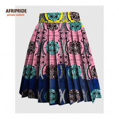 2018 AFRIPRIDE Private Custom women summer skirt made by pure cotton knee-length colorful fashional sexy pleated skirt Short African Dresses, Latest African Fashion Dresses, African Print Fashion, Women's Fashion Dresses, South African Traditional Dresses, Style Africain, African Print Skirt, African Attire, Pleated Skirt
