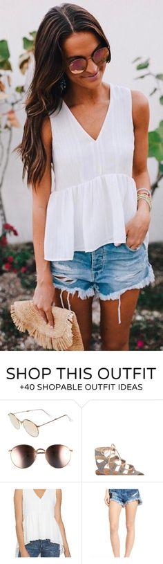 #spring #outfits  White Peplum Tank + Ripped Denim Short  ✌