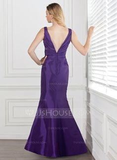 be463aeb4c  £ 89.00  Trumpet Mermaid V-neck Floor-Length Taffeta Bridesmaid Dress With  Ruffle Flower(s) - JJ s House