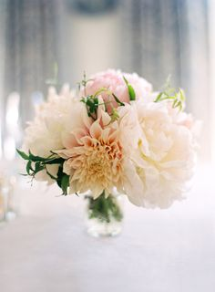 Peony and Dahlia Centerpiece - i like the dahlias and the peonies, and the colors, not so much the spiky greenery.