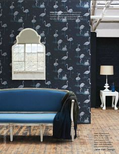 Midnight Blue wallpaper and Sapphire Blue Couch. Cole & Son Flamingos.