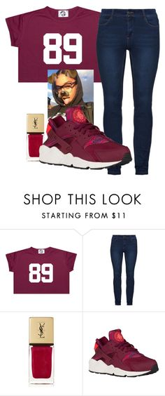 """""""Maroon x Huaraches"""" by anariebreezy ❤ liked on Polyvore featuring Yves Saint Laurent"""