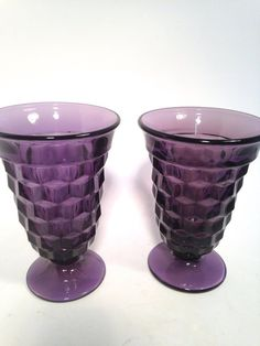 Fostoria American, Amethyst Purple, set of 4 footed Goblets, glasses