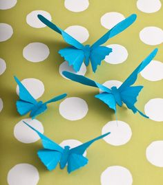 3D Wall Butterflies, 20 Turquoise Blue Butterfly Silhouettes for Home Art Decor, Nursery, Children's Room. $38.00, via Etsy.
