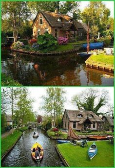 Villa Giethoorn, Netherlands, transport only in bicycles or canoes.