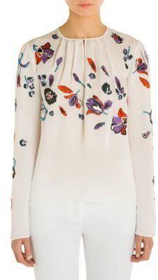 Emilio Pucci Embroidered Silk Blouse