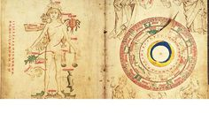 """""""Uomo Zodiaco"""" e """"Lavori Mensili"""". Sono i fogli 50v e 51r del """"The Guild of the Barber Surgeons of York"""". Manoscritto e miniato intorno al 1486 in Inghilterra (York ?). Lingua inglese e latina con grafia gotica e gotica corsiva.  A sx disegno di uomo dello zodiaco, con parti del corpo in relazione ai simboli zodiacali. A dx un puntatore mobile (volvella), girevole sopra un cerchio con le raffigurazioni dei segni dello zodiaco e ilavori dei vari mesi dell'anno"""