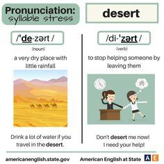 Pronunciation - syllable stress: Desert English Spelling, English Words, English Grammar, English Class, English Lessons, Learn English, English Tips, English Teaching Materials, Teaching English
