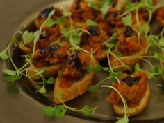 Bruschetta, Oven Roasted Cherry Tomatoes, Fresh Basil, Garlic Confit and Blue Moon Acres Micro Greens