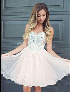 short homecoming dress, light pink prom dress, tulle homecoming dress, BD1464