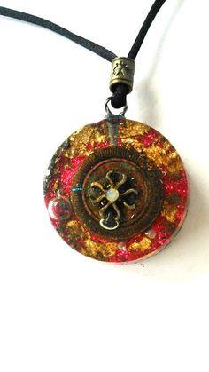 Orgonite pendant-SHUNGIT Magic-Flor by ORGONITHEKA on Etsy