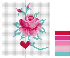 Rose cross stitch diagram | molliemakes.com