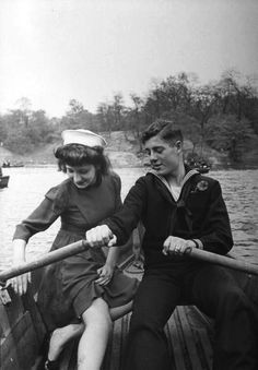 Peter Stackpole, A sailor and his date on a rowboat in Central Park, New York City, 1943.