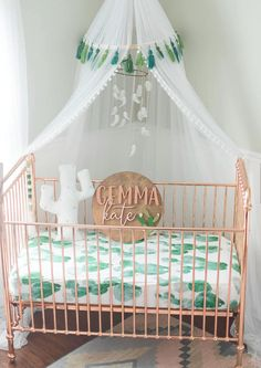 Cutest nursery ever! Love everything about this! #ad #affiliate #nursery #cactus #nurserydecor #baby #crib #canopy #cactusdecor