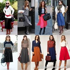What to Wear with Knee-high Boots this Fall 2013 - Midi Skirts - Ideas of Midi Skirts- What to wear with knee high boots Midi skirts All one color looks more formal for business wear mixed colors are a casual look. Midi Skirt Outfit, Winter Skirt Outfit, Fall Winter Outfits, Autumn Winter Fashion, Midi Skirts, Fall Fashion, A Line Skirt Outfits, Pleated Skirt, Fashion News