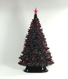 Black Ceramic Tree With Red Lights