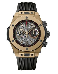 The @hublot Big Bang Unico Full Magic Gold is a limited edition of 250 pieces, it sports a big 45-mm-diameter case, with a bezel secured by H-shaped screws and is outfitted with Hublot's in-house Unico movement. #hublot #watchtime #chronograph
