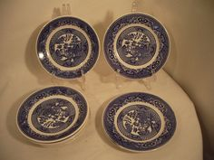 Willow Ware by Royal China Vintage Transferware Blue Plates Saucers 8 pieces #RoyalChina