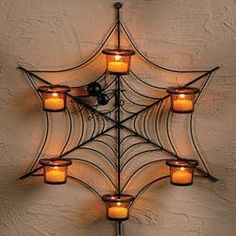 Halloween Spider Web Candle Wreath Wall