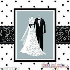 BLACK AND WHITE WEDDING SMALL NAPKINS