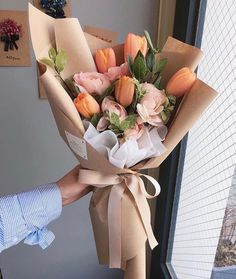 Wedding Flowers Tulips Bouquet Beautiful 46 Ideas For 2019 Tulip Bouquet, Bouquet Wrap, Hand Bouquet, Flower Bouquets, Paper Bouquet, Rose Bouquet, Graduation Flowers Bouquet, Lisianthus Bouquet, How To Wrap Flowers
