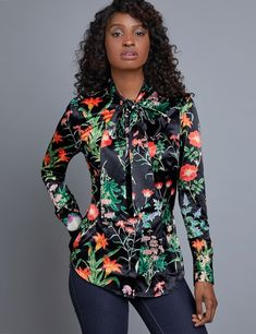 62233ca07d7637 Women s Black   Green Flower Fitted Satin Shirt - Single Cuff - Pussy Bow
