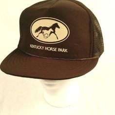Kentucky Horse Park Trucker Hat Baseball Cap Brown White Mesh Snapback #RR #TruckerHat