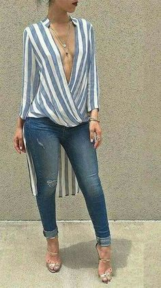 Glamaker Swallowtail striped women blouse shirt 2016 Autumn long sleeve deep v neck loose casual blouse blusas Party sexy tops Chic Outfits, Spring Outfits, Fashion Outfits, Fashion Trends, Casual Chic, Love Fashion, Womens Fashion, Mode Style, African Fashion