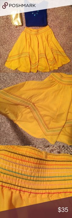 Handmade Festive Yellow Skirt Beautiful handmade, Latin-inspired, yellow skirt! Size: medium. Multi-colored stitching. Great condition. Waist band does not have much give. Color: mustard yellow Skirts A-Line or Full