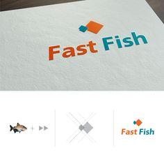"""Para transmitir o conceito de """"agilidade e rapidez na entrega"""" para a distribuidora de peixes, foi desenvolvido uma marca composta por duas figuras que remetem setas, para a representação de um peixe. #Logo #Logotipo #Marca"""