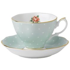 """Established in 1896, Royal Albert is inspired by everything English--the country garden and England's national flower, the rose. This Polka Rose Mint Cup and Saucer is a modern take on a classic, vintage pattern.DetailsMaterialBone chinaCapacity6 ozDimensionsCup 3.5"""" W x 3"""" H, Saucer 5.5"""" WCare InstructionsHand wash recommended. Do not microwave.ManufacturerRoyal AlbertCountry of OriginChina"""