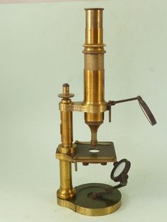 STUDENT MICROSCOPE NACHET ET FILS PARIS BRASS BOX FIELD LENS FRENCH ANTIQUE