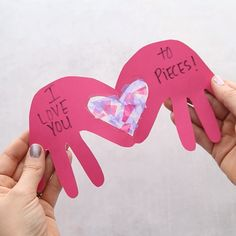 I LOVE YOU TO PIECES CARD - such a cute and easy card for Valentine's day! This I Love You to Pieces Craft with heart suncatcher is easy and can be made into a card! Perfect for Valentine's Day or Mother's Day. Valentines Bricolage, Valentine Crafts For Kids, Valentines Day Activities, Baby Crafts, Toddler Crafts, Preschool Crafts, Holiday Crafts, Fun Crafts, Homemade Valentines