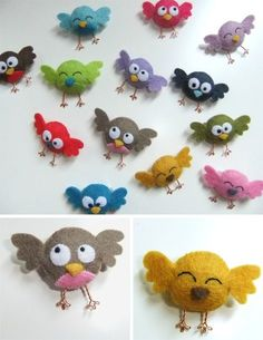 Mini felt pet hair accessories - Lia Griffith kidshairaccessories DIY Mini F .Mini Felt Pet Hair Accessories - Lia Griffith kidshairaccessories DIY Mini Felt Pet Hair Accessories Tutorial with FREE patternPassarinho cute mini-preened birds Bird Crafts, Cute Crafts, Crafts For Kids, Felt Diy, Handmade Felt, Craft Projects, Sewing Projects, Felt Birds, Birds 2