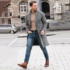 Vintage lapel collar check printed winter long coat in 2019 Fashion Mode, Latest Mens Fashion, Fashion Night, Fashion Edgy, Fashion Ideas, Fashion Trends, Fashion Vest, Fashion Blogs, Fashion Hacks