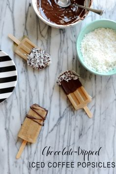 Happy National Coffee Day! Try these Chocolate-Dipped Ice Coffee Popsicles to fuel your coffee addiction: http://www.stylemepretty.com//living/2015/07/07/chocolate-dipped-iced-coffee-popsicles/
