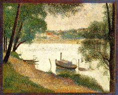 """""""Gray weather, Grande Jatte"""" by Georges Seurat, painted Size: 28 by 34 inches by 86 cm). Philadelphia Museum of Art, USA. Author: Georges Seurat Original file: wikimedia commons here Modifications: square crop to better demonstrate . Georges Seurat, Renoir, Monet, Charles Angrand, Weather Art, Philadelphia Museum Of Art, European Paintings, Classic Paintings, Post Impressionism"""