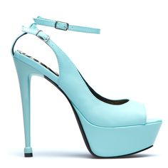 Light blue peep toe platforms with ankle straps.
