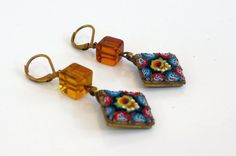Antique or Vintage Micro Mosaic Dangle by FourthEstateSale on Etsy