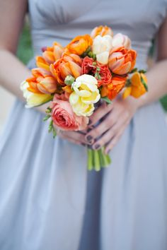 Orange-Bridesmaids-Bouquet - Elizabeth Anne Designs: The Wedding Blog