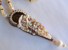 Check out Free Shipping , Bead Embroidery, Necklace, Statement jewelry, Seed bead necklace,Shell,Pearl, Ammonite on vicus